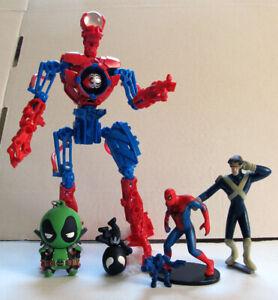MARVEL FIGURE LOT - Spiderbot, Deadpool, Spider-man, War Machine & Cyclops