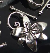 5 Sets Silver Pewter Flower Toggle 30x24mm