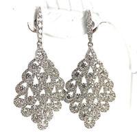 Vintage 18K White Gold 4.01ctw Diamond Chandelier Dangle Earrings