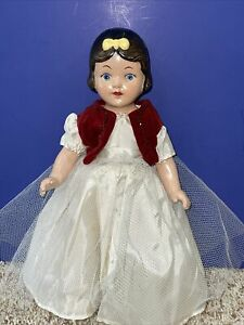 """Vintage Unmarked 13"""" Composition Snow White Doll"""