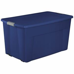 Sterilite 45 Gal. Wheeled Latch Tote Stadium Blue Case of 4