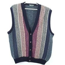 Vintage Mens 2XL XXL Lyle & Scott Lambswool Wool Sweater Vest Cardigan Button