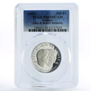 Guinea 200 francs John and Robert Kennedy PR69 PCGS silver coin 1969