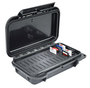 SD Memory Card Case with Custom Slotted Foam Waterproof Dustproof Black on Black