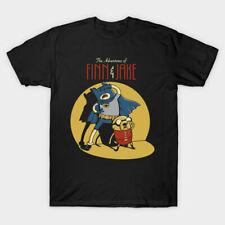 Finn & Jake Adventure Time Batman Cartoon Parody Comic Funny Black T-shirt S-6XL