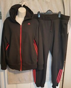 Size 20-22 Dark Grey/Red Striped Adidas Climate Tracksuit