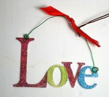 CLEARANCE bright sparkly metal LOVE hanging Christmas tree decoration gift