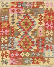 3'x3' SQUARE PASTEL South-Western Kilim Turkish Oriental Area Rug Flat-Woven NEW