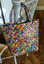 Handcrafted Folded Paper Food Wrapper Purse Tote With Strap Colorful and Bright.