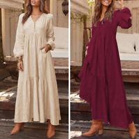 ZANZEA Women Long Maxi Dress Gown V Neck Button Front Flare Swing Tiered Kaftan