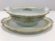 Noritake China M Japan Unknown Pattern Gravy Bowl With Attached Under Plate