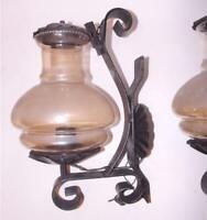 antica applique ferro battuto ampolla vetro ambrato stile classico disponibili2
