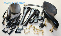 2set New Ebony Wood 4/4 Violin Accessories Chinrest endpin Tuners