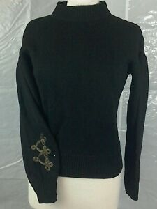 WBR63 Mint Velvet Black Military Sleeve Detailing Top Size 6