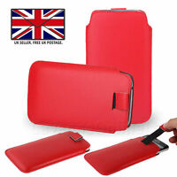Red Leather Slim Pull Tab Phone Cover Pocket Pouch For Sharp Aquos V