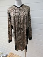 SUSSAN Womens Brown & Black Patterned Button Down Long Tunic Top/Dress -Size 14