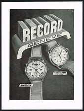 1940's Vintage 1947 Record Geneve Datofix & Automatic Wrist Watch Art Print AD