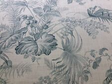 10Y SCALAMANDRE TROPICAL TOILE LINEN PRINT GUSTAVIAN BLUE ON IVORY MSRP$215