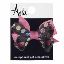 Dog Puppy Grooming Bow Barrette - Aria - Peace Sign - Set of 2