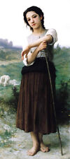 "Art huge Oil painting beautiful young girl portrait nice shepherdess & sheep 36"""