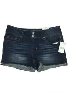 Rue 21 mid rise shortie double button frayed denim jean shorts size 3/4