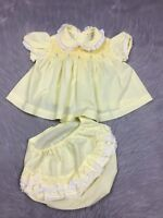 Vintage 1950s Baby Girls Yellow Smocked Lace Trim Ruffle Dress Bloomers