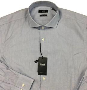 Men's Hugo Boss L/S Dress Shirt 16 32/33 Sharp Fit Blue White Striped NEW $128