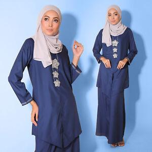 New Cotton Oxford Blue Women Muslimah Long sleeve Kebaya Diamond Plus Size Dress