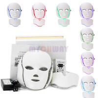 7 Colors LED Light Photon Face Neck Mask Rejuvenation Skin Therapy Anti-Aging US