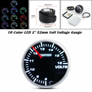 "2"" 52mm 12V 10 Color LED Car Boat 8-16V Voltmeter Volt Voltage Gauge Meter"