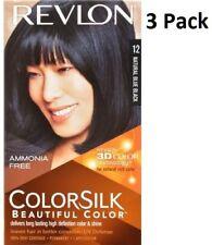 3 x Revlon Colorsilk Ammonia Free Permanent Hair Colour (12 Natural Blue Black)