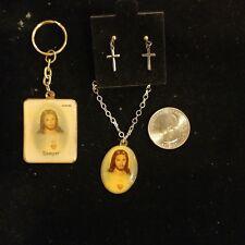 "Vintage Jesus Picture Pendant Necklace(15.5"") + keychain + cross earrings"