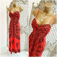ELISSA 💋 UK S Coral Floral Print Slinky Stretch Grecian Maxi Dress ~Free P&P ~