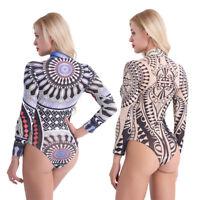 Women's See Through Sheer Mesh Floral Bodysuit Jumpsuit Leotard Tops Blouse