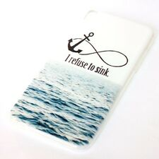For HTC Desire 816 - SOFT TPU RUBBER SKIN CASE COVER BLUE SEA INFINITY ANCHOR