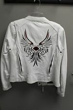 COLLECTOR EDITION 2008 HARLEY DAVIDSON WHITE LEATHER WOMEN'S MEDIUM JACKET