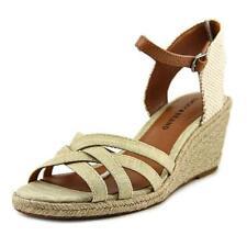 Sandalias y chanclas de mujer de tacón medio (2,5-7,5 cm) de lona Talla 38.5