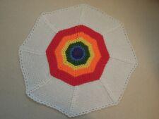 Handmade Crochet Knit Rainbow Baby Blanket Cot Pram Moses Gift New Baby