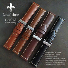 Superior Crafted Glove Grain Calf Leather Watch Straps 4.5mm Padding 18-24mm