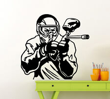 Paintball Player Wall Decal Extreme Sport Vinyl Sticker Art Decor Mural (106ex)