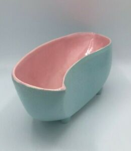 McCoy Pottery MCM Pink and Blue Planter with feet Pastel Mid Century Modern