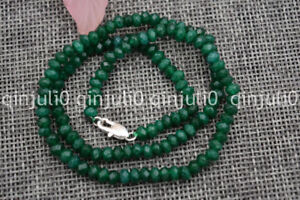 Natural 2x4mm Faceted Dark Emerald Handmade Gemstone necklace 18'' Silver clasps