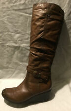 TU Ladies Knee High Boots UK Size 5 EU Size 38 Brown Faux Leather