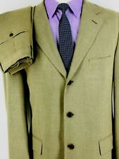 42L Jos A Bank Corporate Collection Italy 3 Bttn Suit Sand Tan Pants 36 Exc!