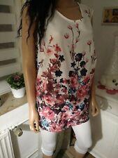 fröhliches Sommer Blumen Bluse Top/Shirt in frischen Farben Gr 46/48