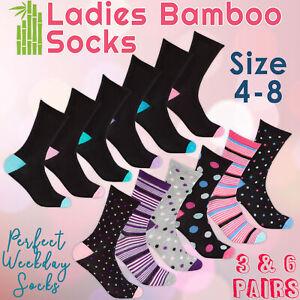 3 6 Pairs Ladies Womens Bamboo Crew Mid Calf Everyday Socks Gentle Soft UK 4-8