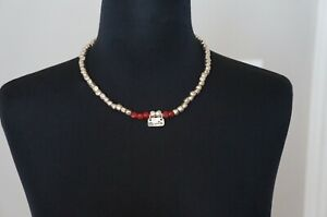 """NEW Uno De 50 Silver Red Murano Glass Short """"SUERTE"""" Statement Necklace"""