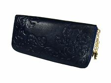 Blue GENUINE LEATHER WALLET, Zipper, Multiple Compartments