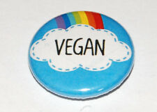 VEGAN RAINBOW Button Badge 25mm / 1 inch HUMOUR ETHICAL MEAT DAIRY FREE