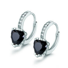 HUCHE Black Heart Sapphire Gothic Style White Gold Filled Women Wedding Earrings